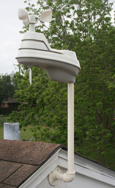 AcuRite homemade PVC pipe weather station mount