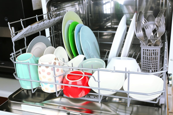 Dishes drying in a dishwasher