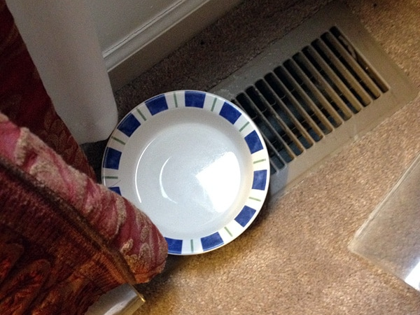 Water bowl on HVAC heat register