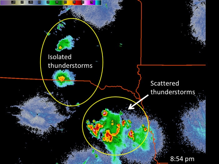 Example of isolated vs. scattered thunderstorms