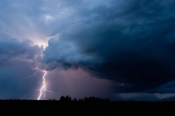 lightning strike in thunderstorm