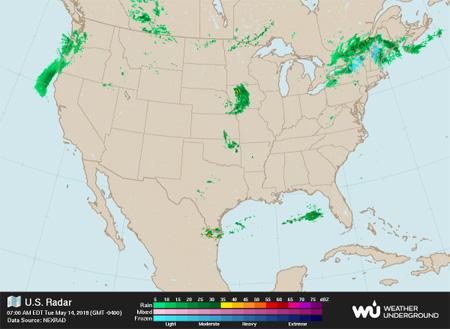 United States weather radar image from Weather Underground
