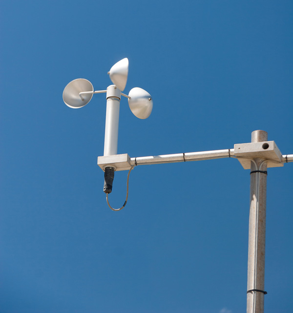 Cup anemometer being used to measure wind speed