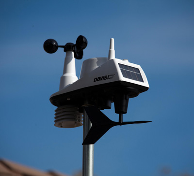 Personal weather stations measure wind speed and direction