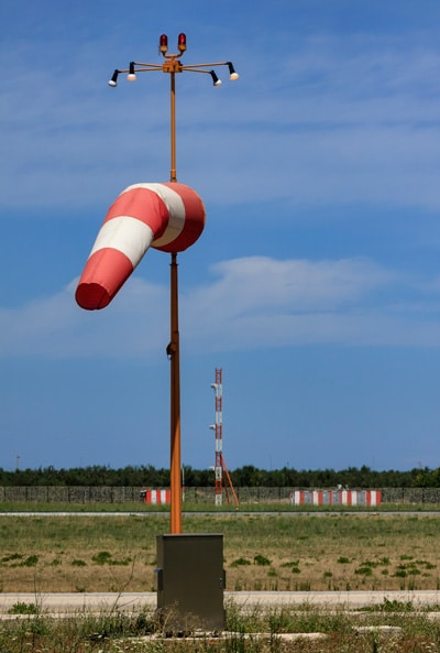 Windsock located at an airport