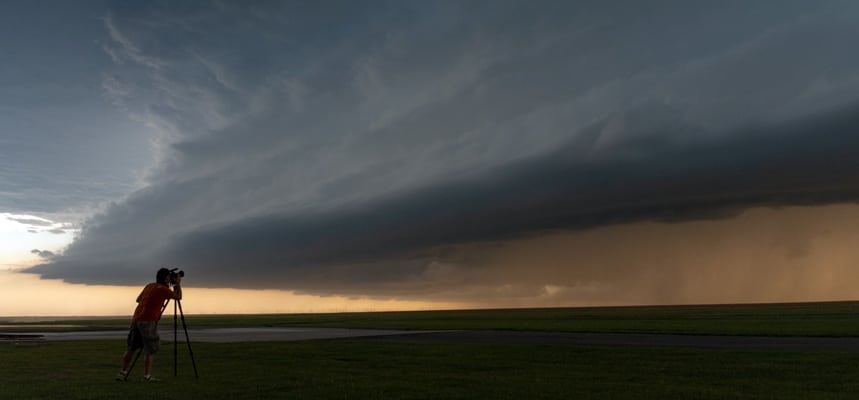 Storm chaser filming a supercell in Colorado