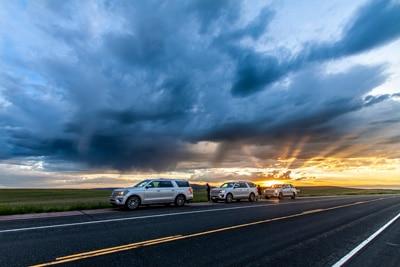 Storm chasers in tornado alley
