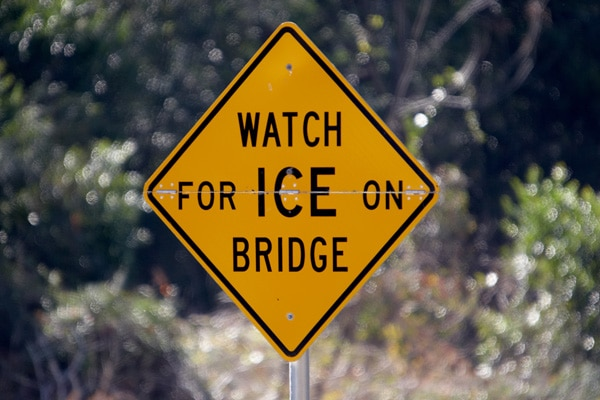 Watch for ice on bridge warning sign