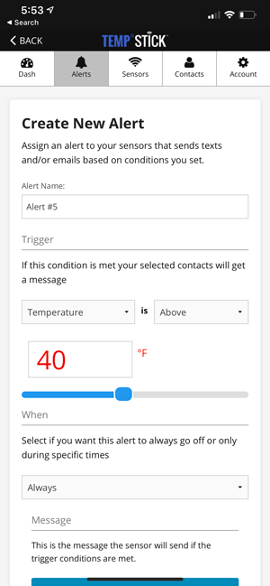 Create new alert screen