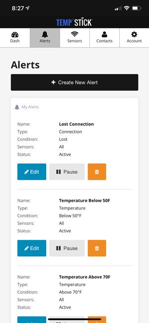 Temp Stick sensor alerts