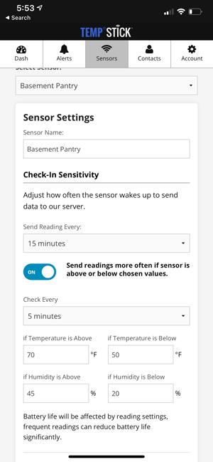 Sensor settings
