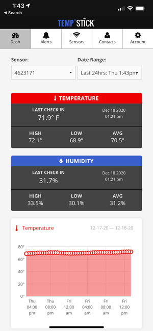 Temp Stick app dashboard