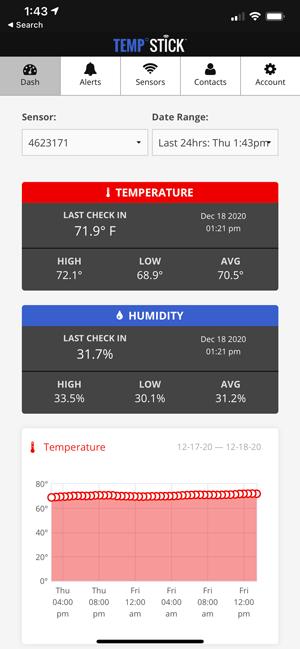 Temp Stick app dashboard