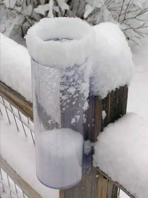 Rain gauge measuring snowfall