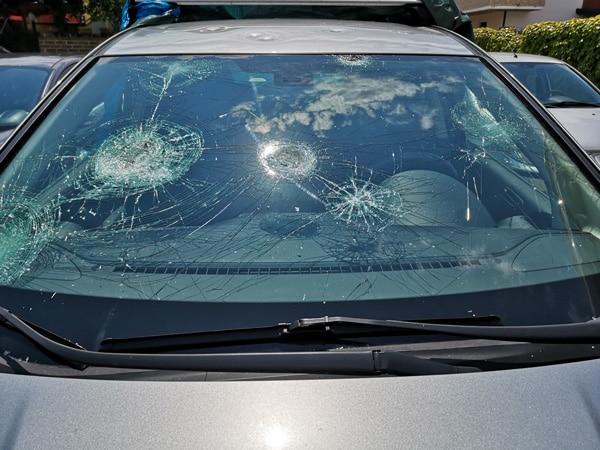 Hail damage on a car