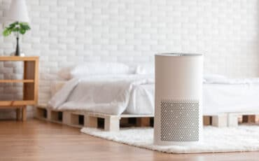 Air purifier in a bedroom